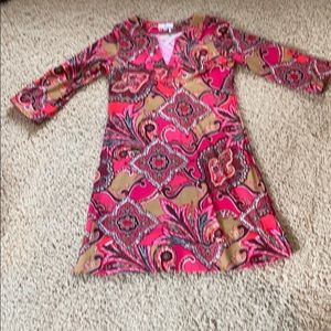 Pink paisley 3/4 sleeve dress